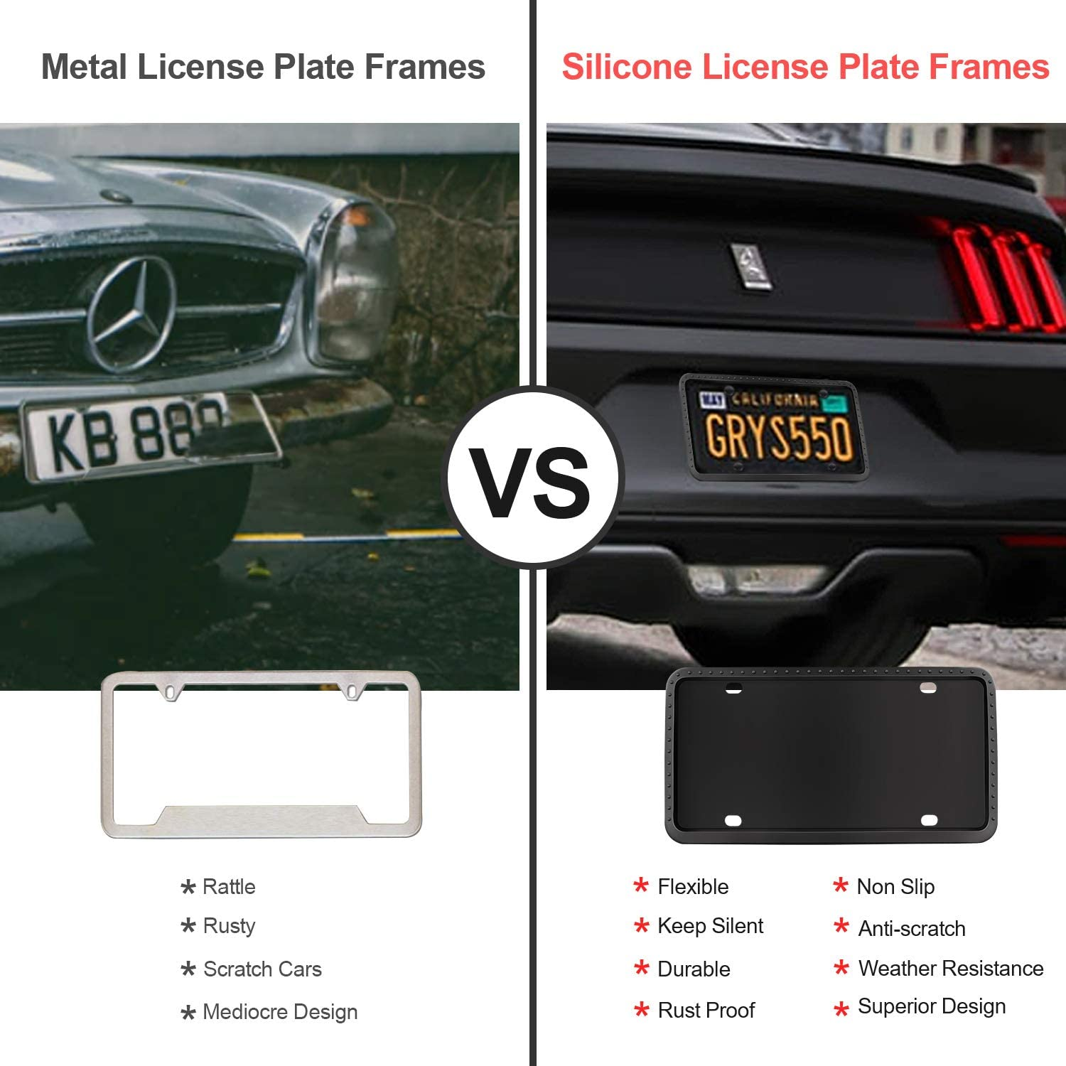 Black Whekeosh License Plate Frame 2 Pcs Black License Plate Frame for Cars Rust-Proof Weather-Proof License Plate Holder Silicone License Plate Frames with Mounting Accessories