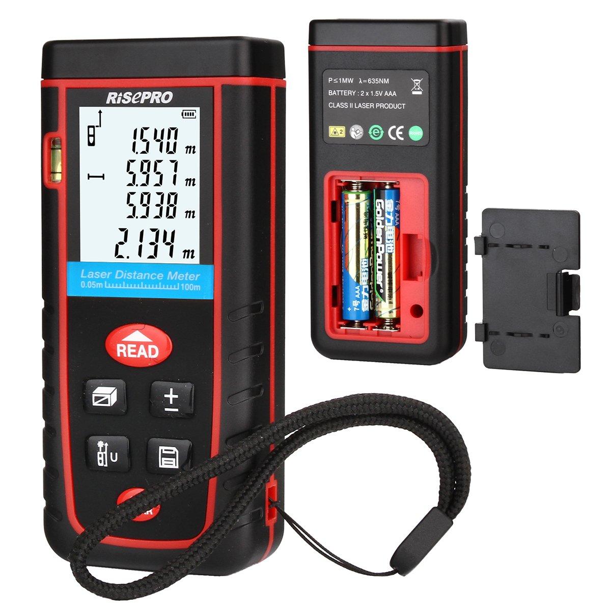 Laser Distance Meter, RISEPRO Digital Laser Rangefinder 100 Meters 328 feet Mini Handheld Area Volume Measure Diastimeter by RISEPRO (Image #3)