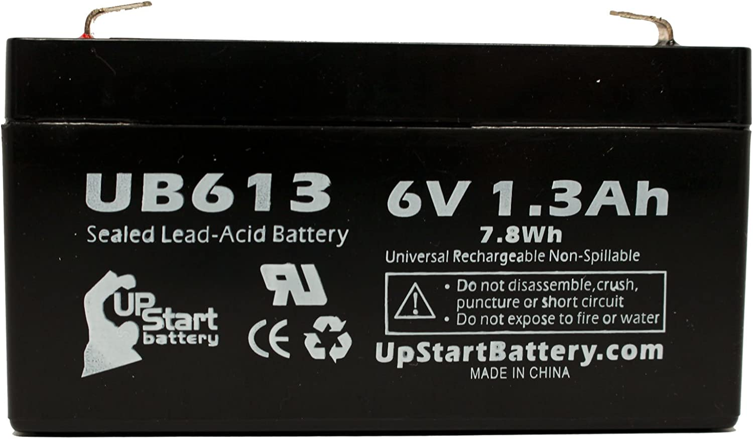 2x Pack Casil//Chee Yuen Industrial Ca613 Compatible with LICHPOWER DJW6-12 6V, 1.3Ah, 1300mAh, F1 Terminal, AGM, SLA - Includes 4 F1 to F2 Terminal Adapters UB613 Universal Sealed Lead Acid Battery Replacement Exitronix Ex6v1.2a Lichpower Djw6-12,
