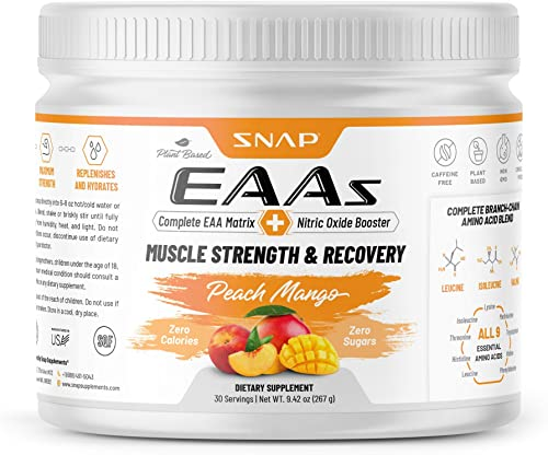 Snap Supplements EAAs Essential Amino Acids – BCAA Powder Peach Mango Flavor Muscle Strength Recovery Workout Drink for Men Women – 30 Servings