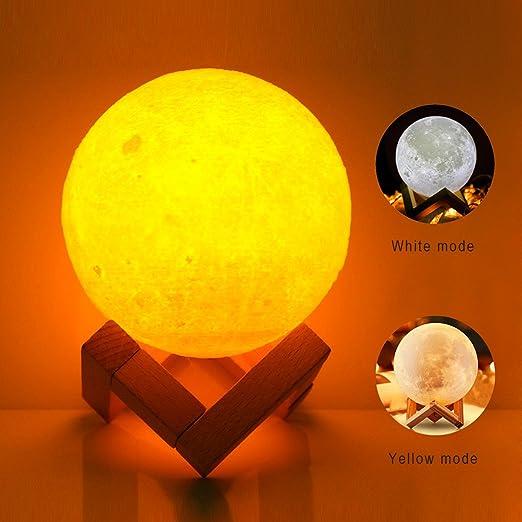 5.5 Inch 3D Moon Lamp, FZAI USB LED Night Light Magical Lunar Table Lamp  Moonlight