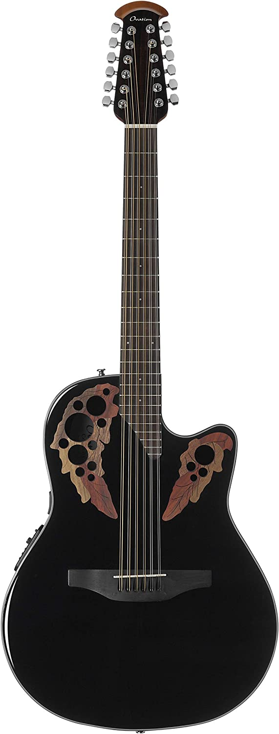 Ovation Celebrity Collection - Guitarra acústica eléctrica de 12 cuerdas, derecha, color negro, cuerpo de profundidad media (CE4412-5)