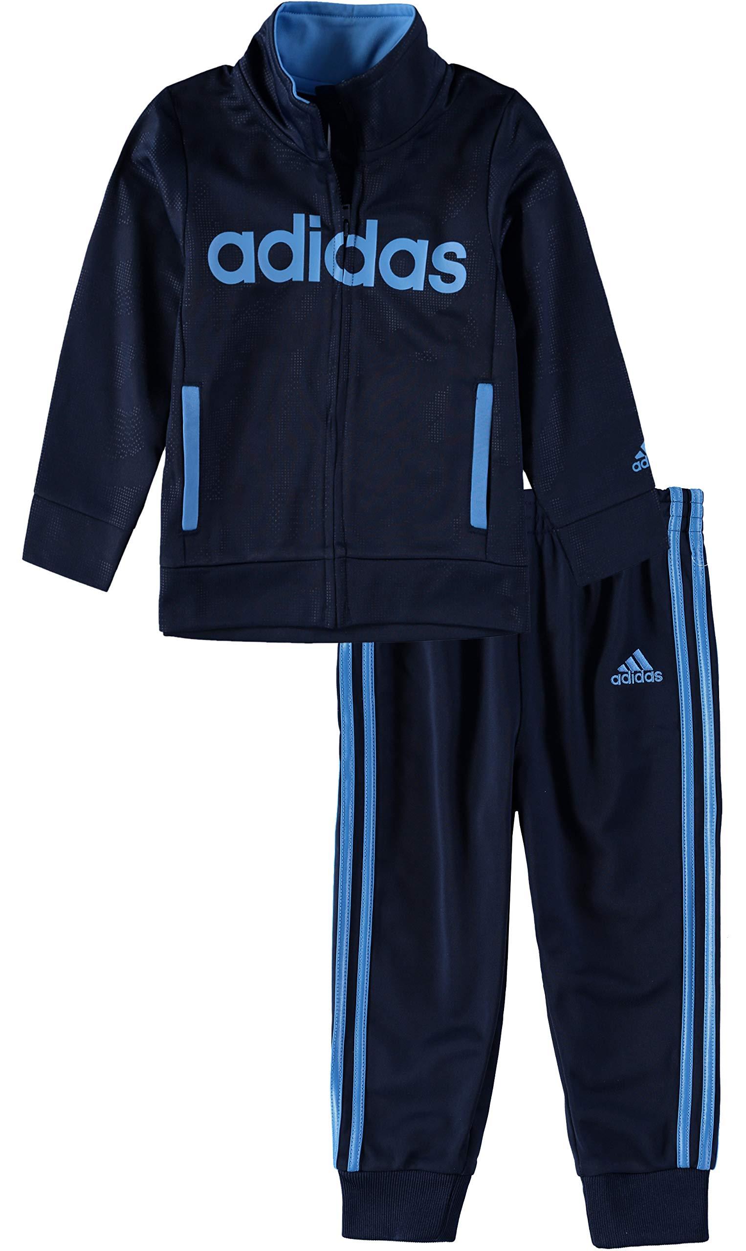 adidas Boys' Tricot Jacket and Pant Set (Navy/Light Blue, 4)