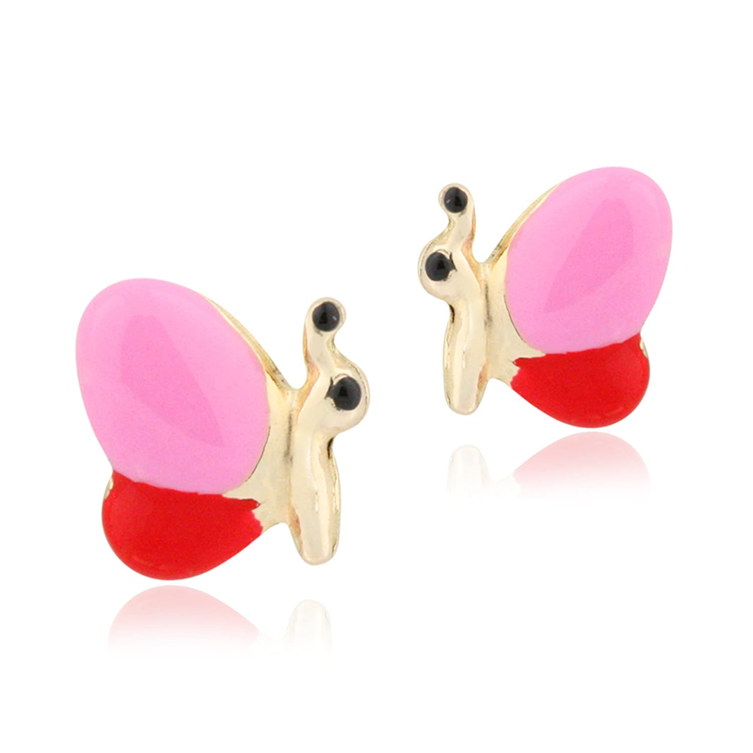 UNICORNJ 14K Yellow Gold Butterfly Side Stud Earrings Enameled Pink and Red Kids /& Children Italy