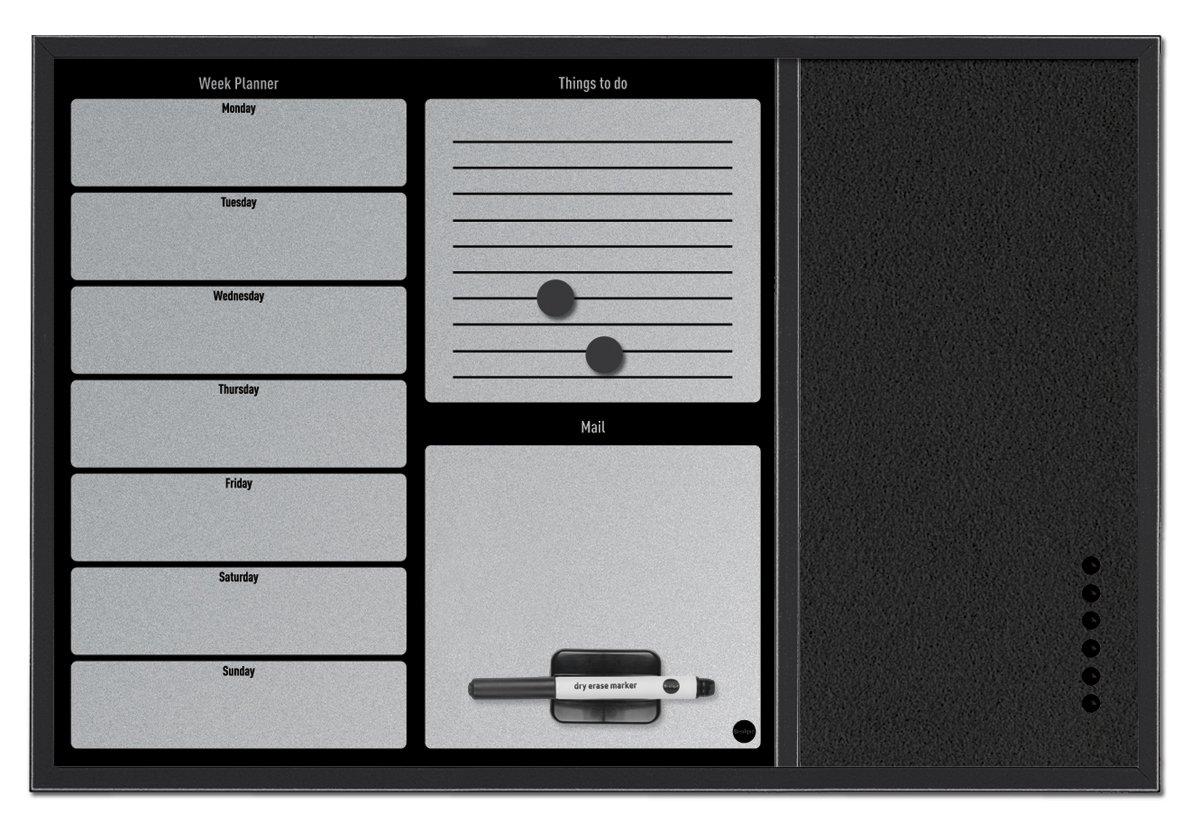 Bi-Office MX03402169 Combo Organiser con Planner Settimanale e Messaggi, 60x40, Nero/Argento Bi-Silque