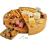 Picnic at Ascot Patented Bamboo Cutting Board for Cheese & Charcuterie with Knives & Cheese Markers- Stores as a Compact…