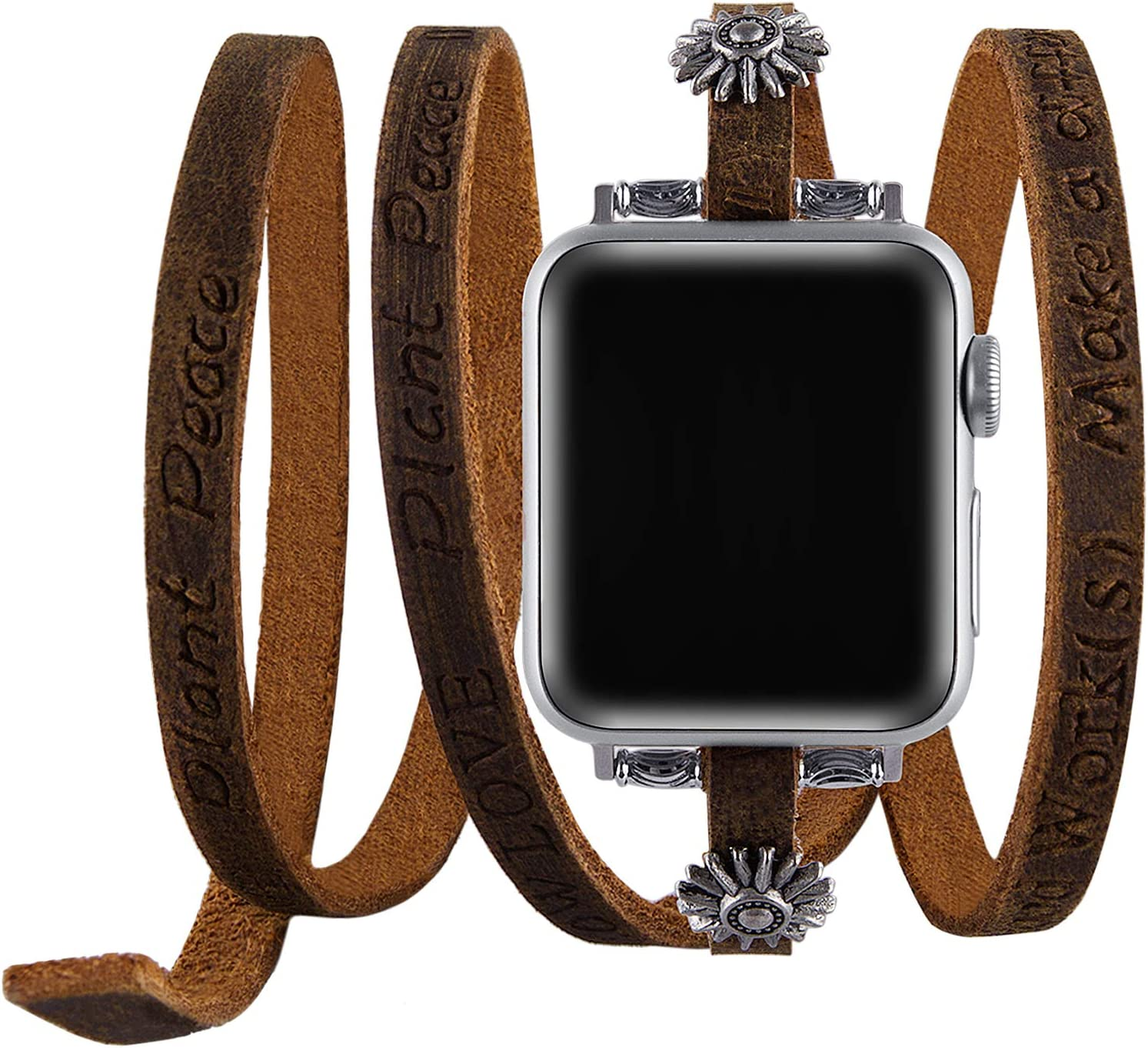 VIQIV Double Wrap Band Compatible with Apple Watch 38mm 40mm 42mm 44mm Iwatch SE & Series 6 5 4 3 2, Unisex Cowboy Leather Bracelet Dressy Jewelry Wristband Strap