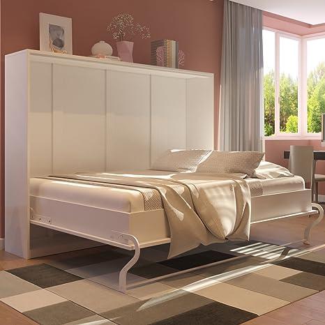 SMARTBett Cama abatible horizontal de pared de 140 cm, blanc / avant blanc brillant, 140 x200