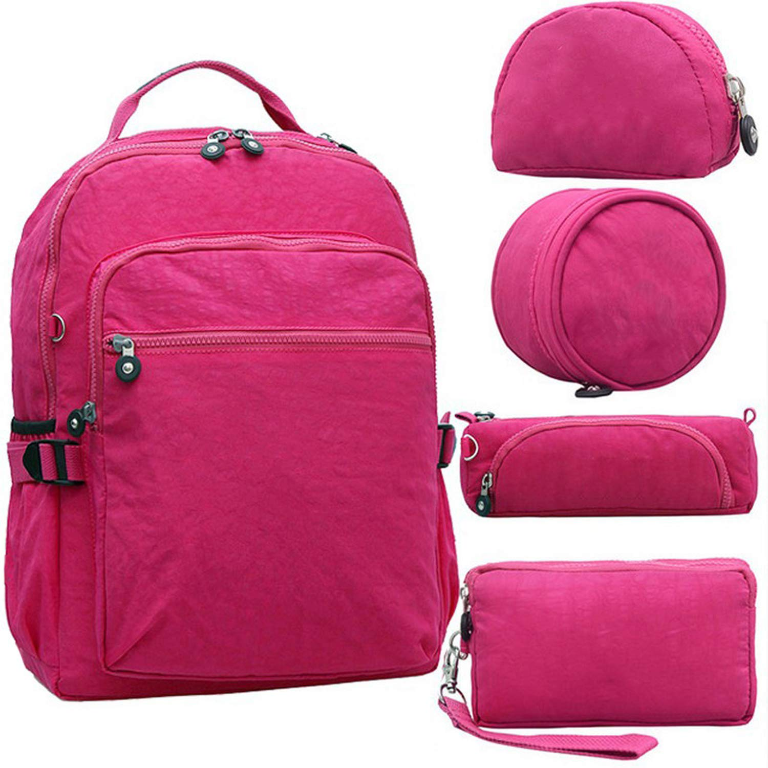 Amazon.com: 5pcs/set Casual Original School Backpack for Teenage Kiple Mochila Escolar Travel Bag Backpack for Laptop With Monkey Keychain,5PCS Rose Red: ...