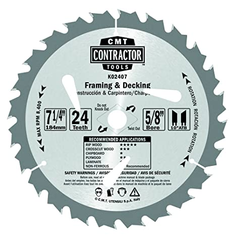 CMT K02407-X10 ITK Contractor Framing/Decking Saw Blade Masterpack ...