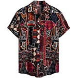 IHGTZS Men's Shirts, Ethnic Short Sleeve Casual Cotton Linen Printing Hawaiian Shirt Blouse