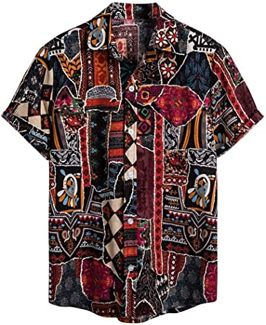 CAOQAO Camisa Lino Hawaiana Hombre Algodón de Lino Impresión de Hawaii Manga Corta Camisas Funky Blusa: Amazon.es: Ropa y accesorios