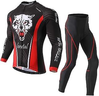 GZCBK Abbigliamento Ciclismo Set Abbigliamento Sportivo per Bicicletta Maglia Manica Lunga+Pantaloni Lunghi