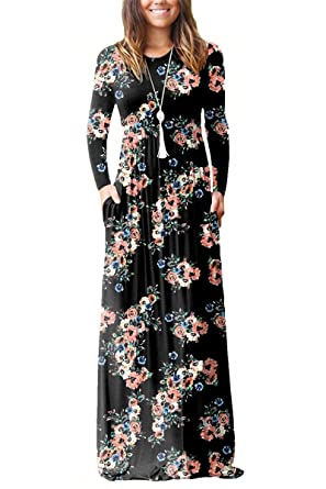 9451b6e9833 ESONLAR Womens Floral Cotton Casual Maxi Dress Long Sleeve Flare Pleated  Dresses Floor Length Black Small