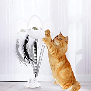 APHISM Interactive Cat Toys, Food Dispenser Cat Teaser Toy, Metal Wire Spring Tumbler Feather Ring Bell, for Indoor Cats Kitten