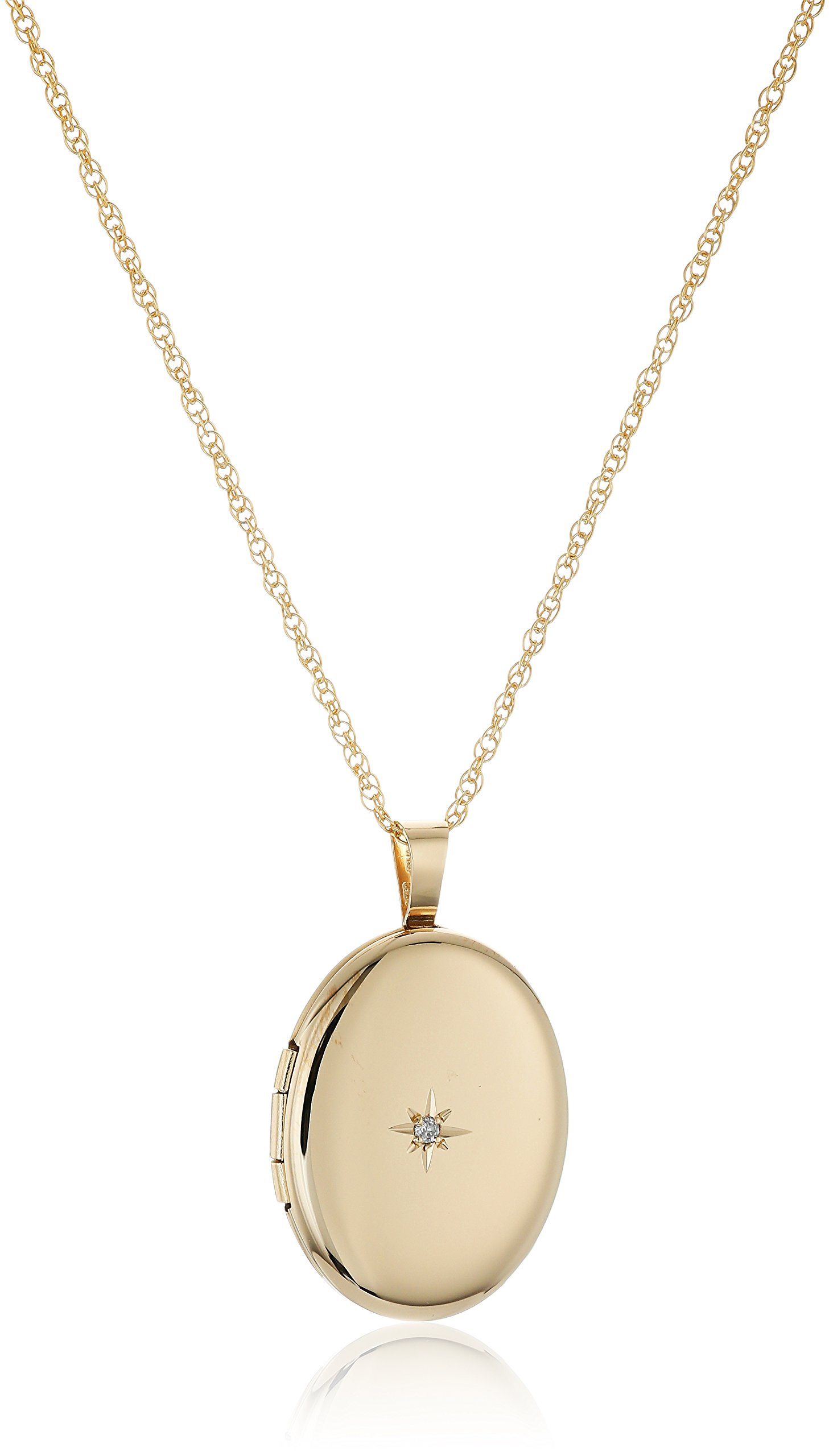14k Yellow Gold-Filled Oval Locket with Diamond-Accent, 20'' by Amazon Collection