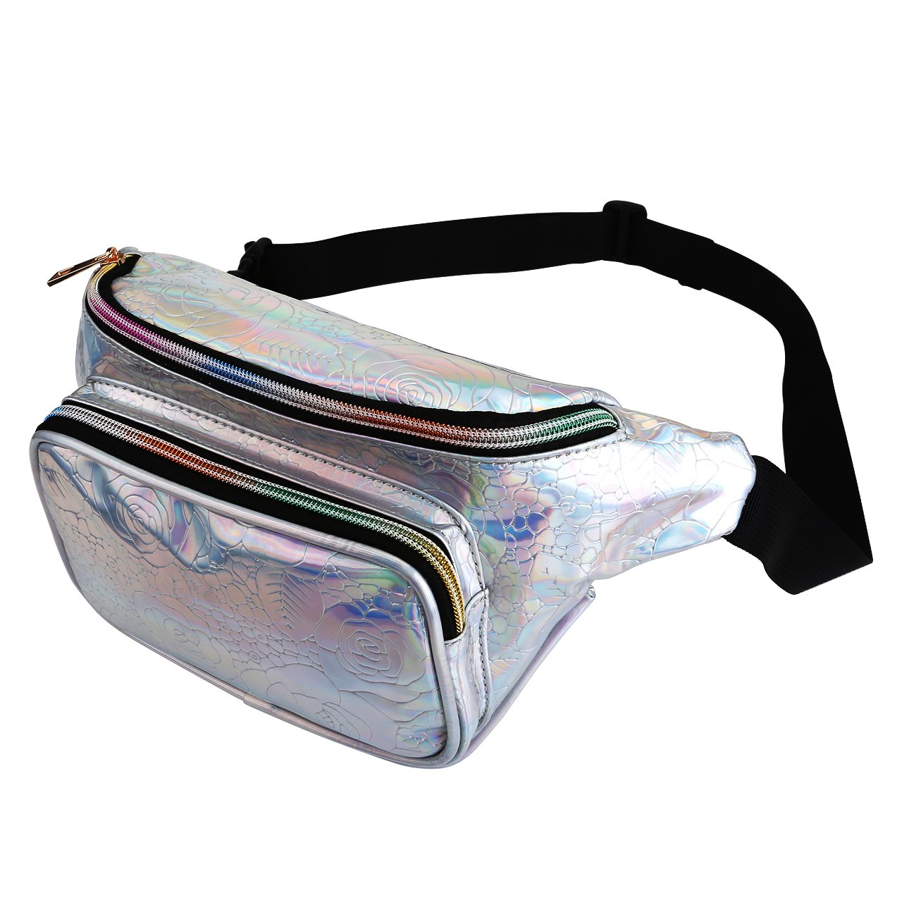 Faleto Fanny Pack Holographic, PU Waterproof Bum Bags Wasit Pack for Men Women Travel Running Gym Travel Party (Floral Silver)