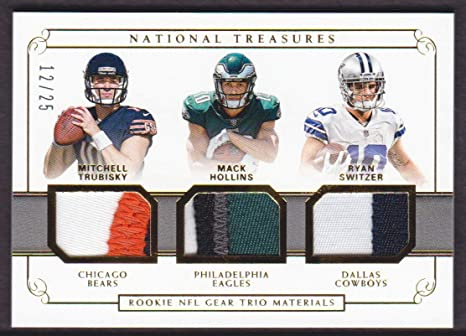 purchase cheap 026cf a3fdf 2017 National Treasures Rookie NFL Gear Trio Materials Prime ...