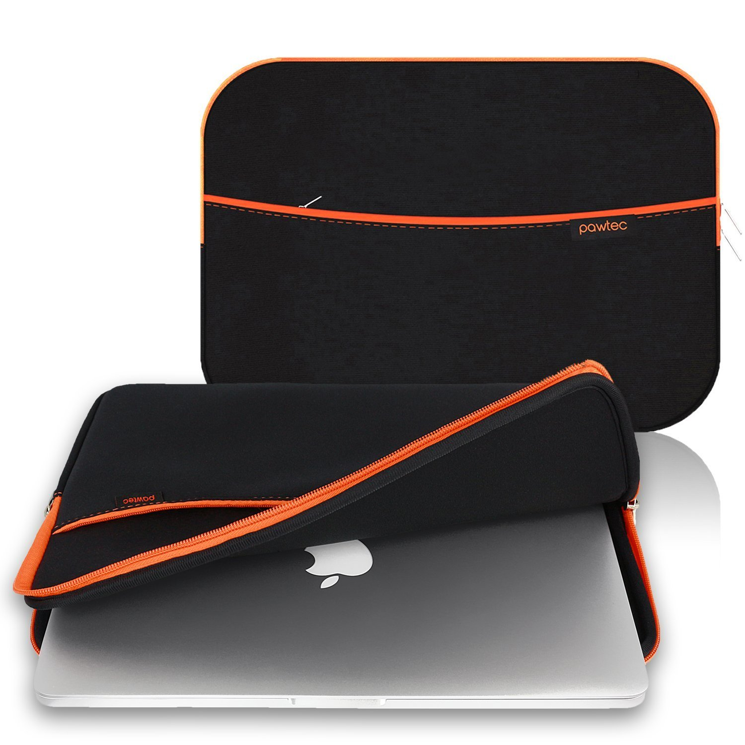Pawtec MacBook 15-Inch Pro / Retina / Laptop Neoprene Sleeve Protective Storage Carrying Case With Extra Storage Pocket for Accessories and Wall Charger (Black)
