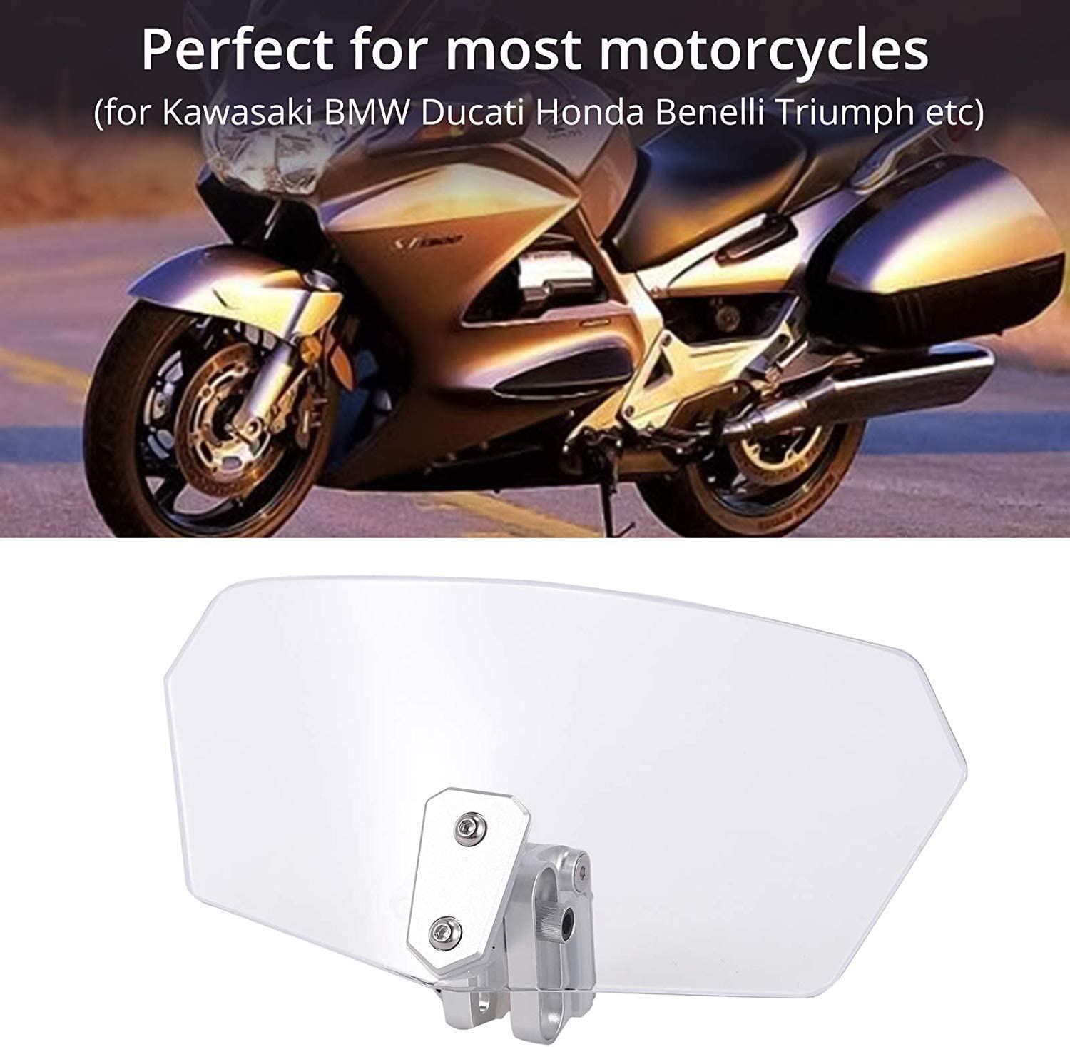 Justech Adjustable Clip On Windshield Extension Spoiler Wind Air Deflector for Motorcycle Motorbike-Clear