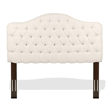 Elegant Martinique Upholstered Adjustable Headboard Panel With Solid Wood Frame And  Button Tufted Design, Ivory
