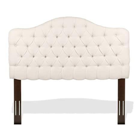 martinique upholstered adjustable headboard panel with solid wood frame and design ivory