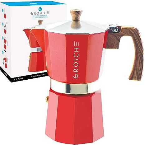 GROSCHE Milano Stovetop Espresso Maker Moka Pot 9 Cup, 15.2 oz, Red - Cuban Coffee Maker Stove top coffee maker Moka Italian espresso greca coffee ...