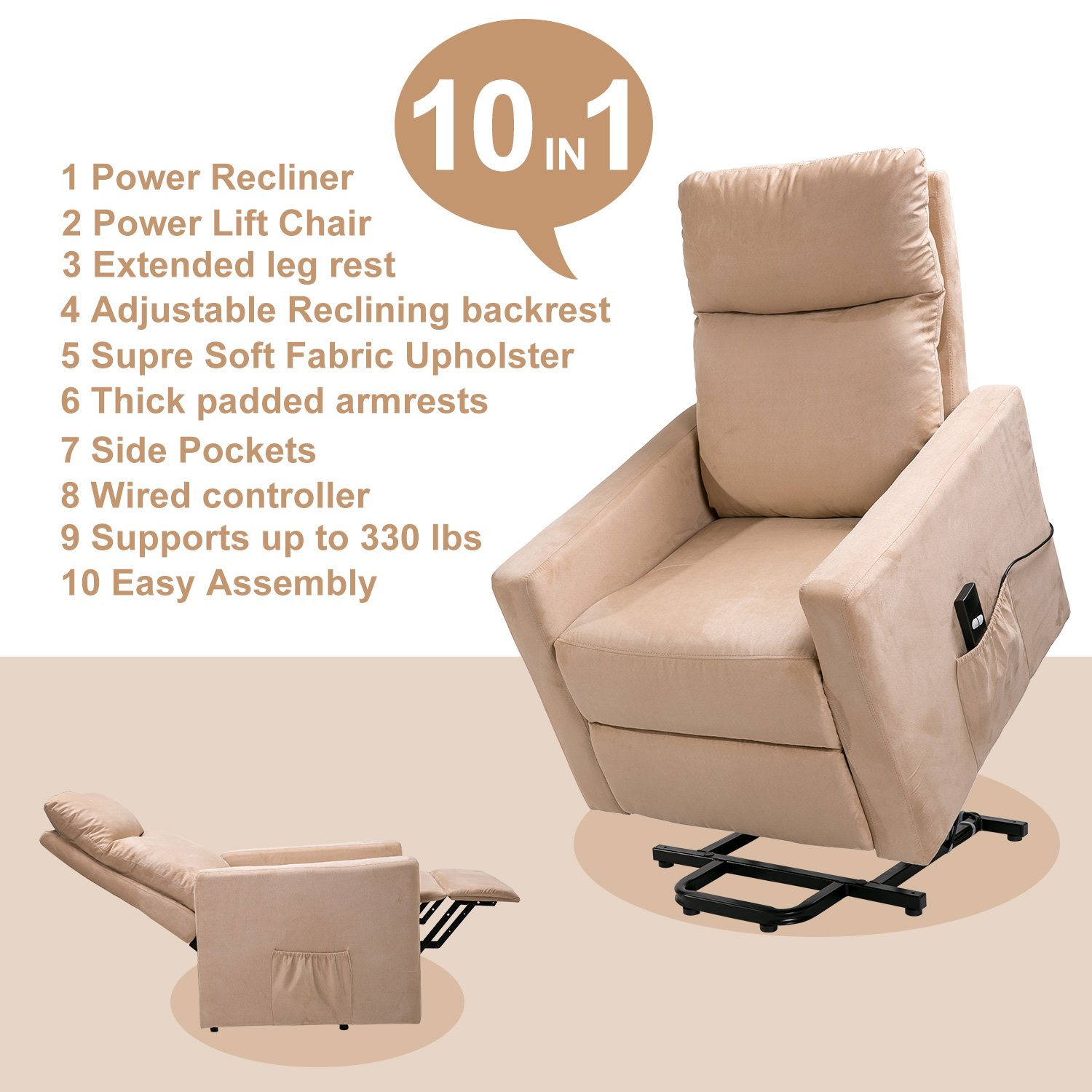 Amazon Merax Power Lift Chair and Power Recliner in Suede