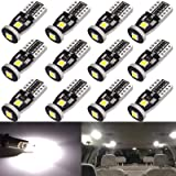 Anourney 12PCS T10 194 168 2825 W5W 3SMD LED Bulbs, 194 Led Bulbs 6000k White 3030 Chipsets Used for Dome Light, Map…