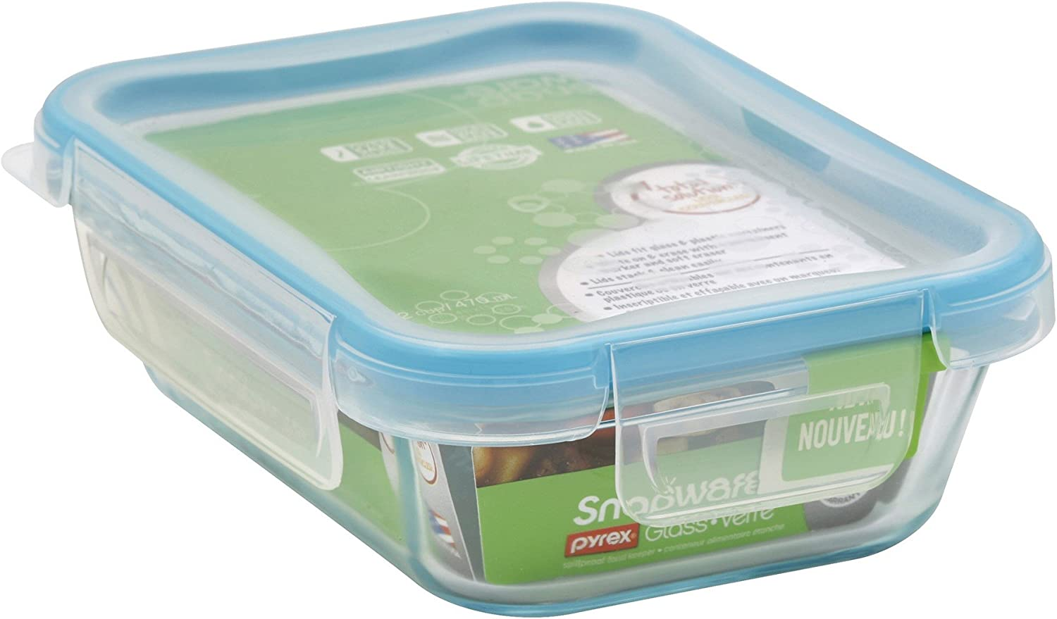 Snapware 1112403 6 Cup Glass Rectangle With Plastic Lid