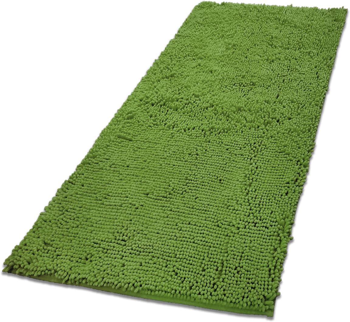 MAYSHINE Absorbent Microfiber Chenille Door mat Runner for Front Inside Floor Doormats, Quick Drying, Washable-31x59 inch Green