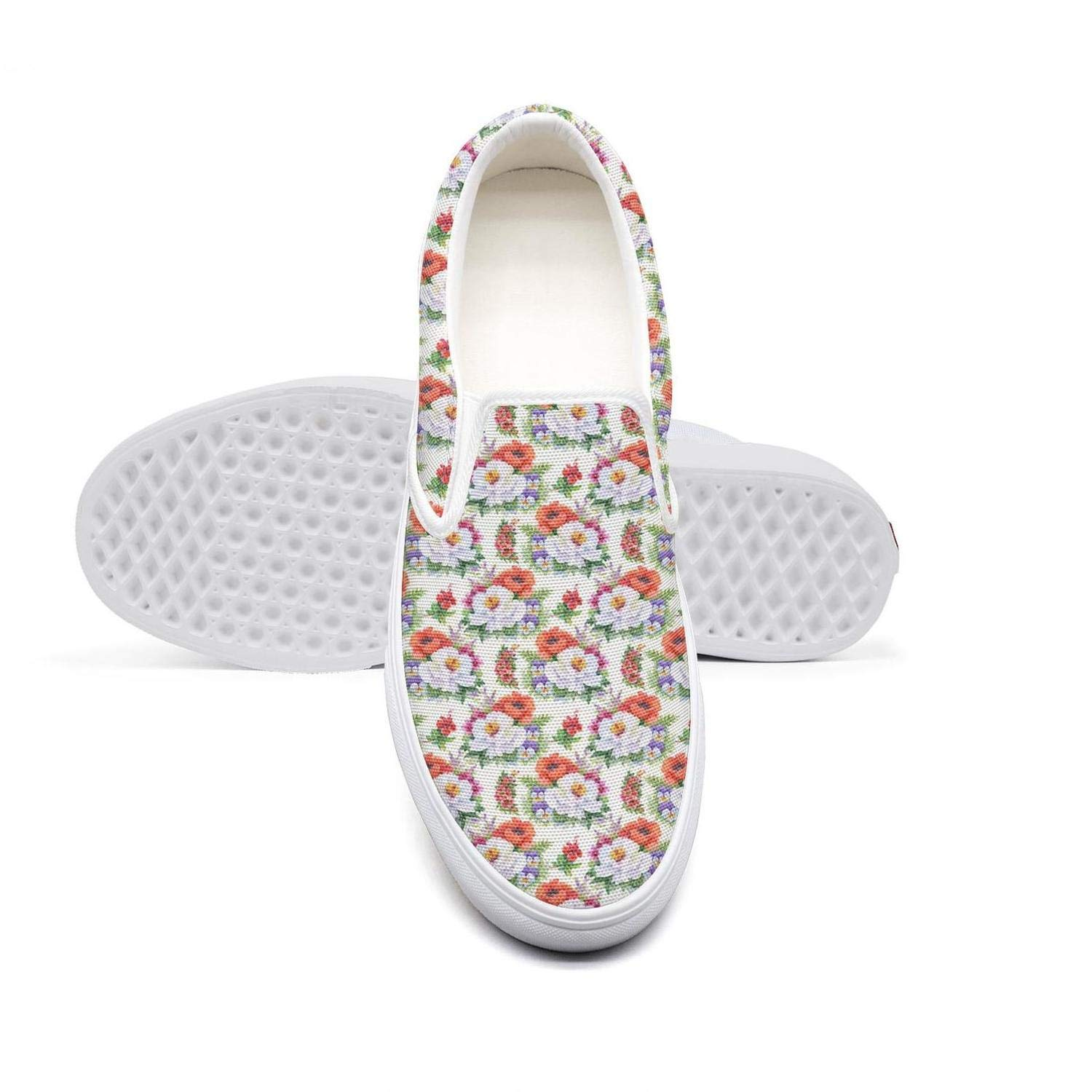 Seamless Pattern with red White Flower Vector Womens Casual Slip-on Canvas Loafer Fashion Sneaker Lightweight Flat Walking Gym Shoes