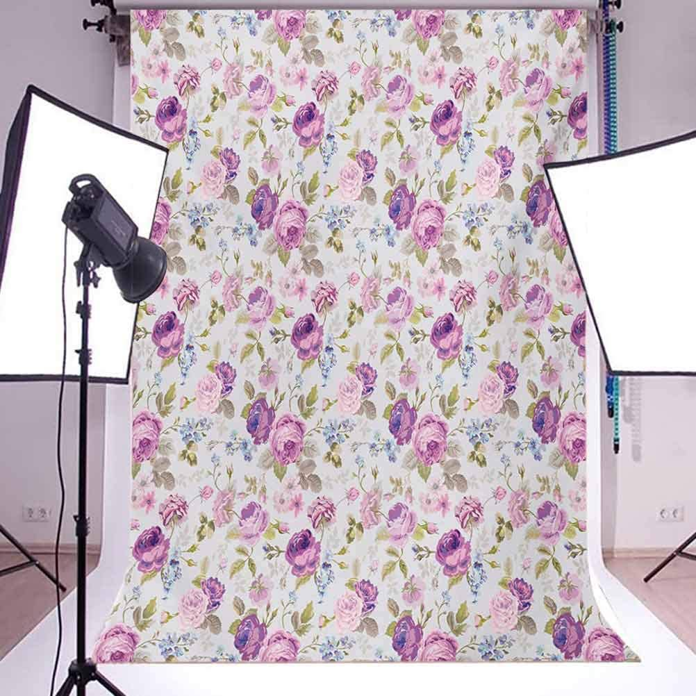 Floral 10x12 FT Backdrop Photographers,Floral Pattern Pastel Tones Love and Adoration Theme Lovely Leaves Petals Background for Child Baby Shower Photo Vinyl Studio Prop Photobooth Photoshoot