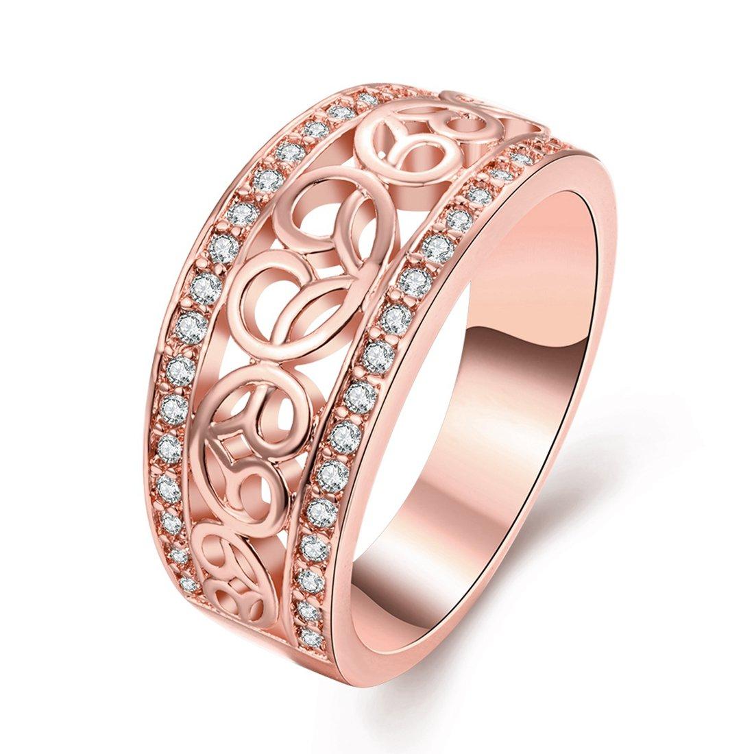 Amazon.com: [Eternity Love] Women\'s Pretty 18K Rose Gold Plated ...
