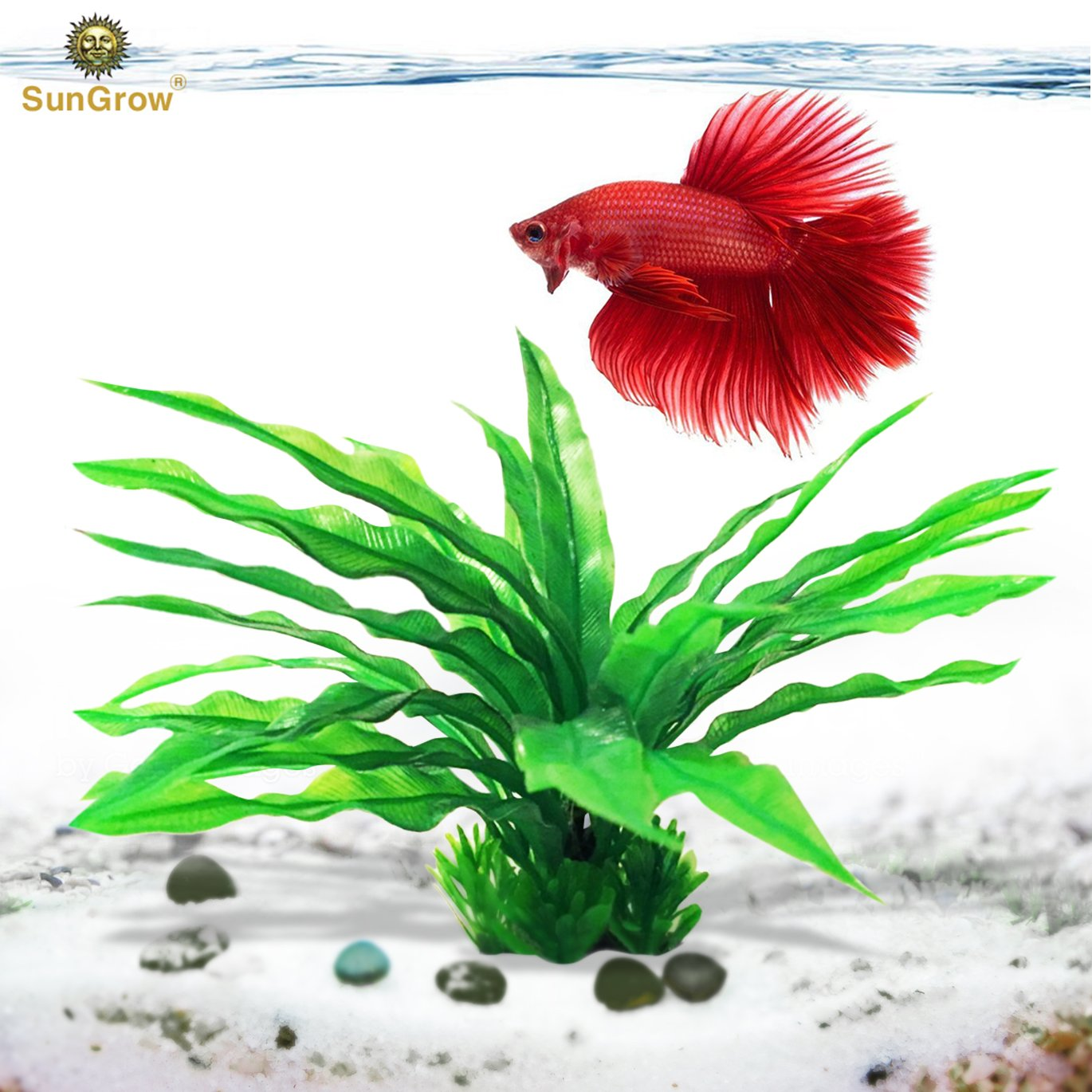 SunGrow Long Leaf Java Fern - Plastic Artificial Plant to Enhance Your Aquascape - Fish Tank Aquarium Decor - Looks Realistic, Beautiful Green Leaves - No Maintenance Required - Ready to Install
