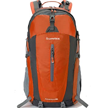 a6d99bbf793f Suretex Outdoor Climbing Hiking Trekking Rucksack Waterproof Mountaineering  Bag Travel Backpack Daypacks (Orange