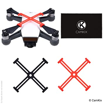 CamKix Propellor Fixators compatible with DJI Spark - 2 Pack (1x Red and 1x  Black) - Keeps the Propellers Locked in a Fixed Position - Essential
