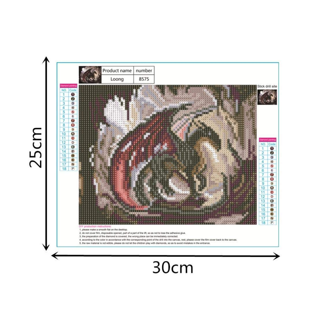 A, 30cm x 25cm Saihui Full Drill Rhinestone Embroidery Pasted Paintings Cross Stitch for Home Wall Decoration DIY 5D Diamond Painting Kits Dragon
