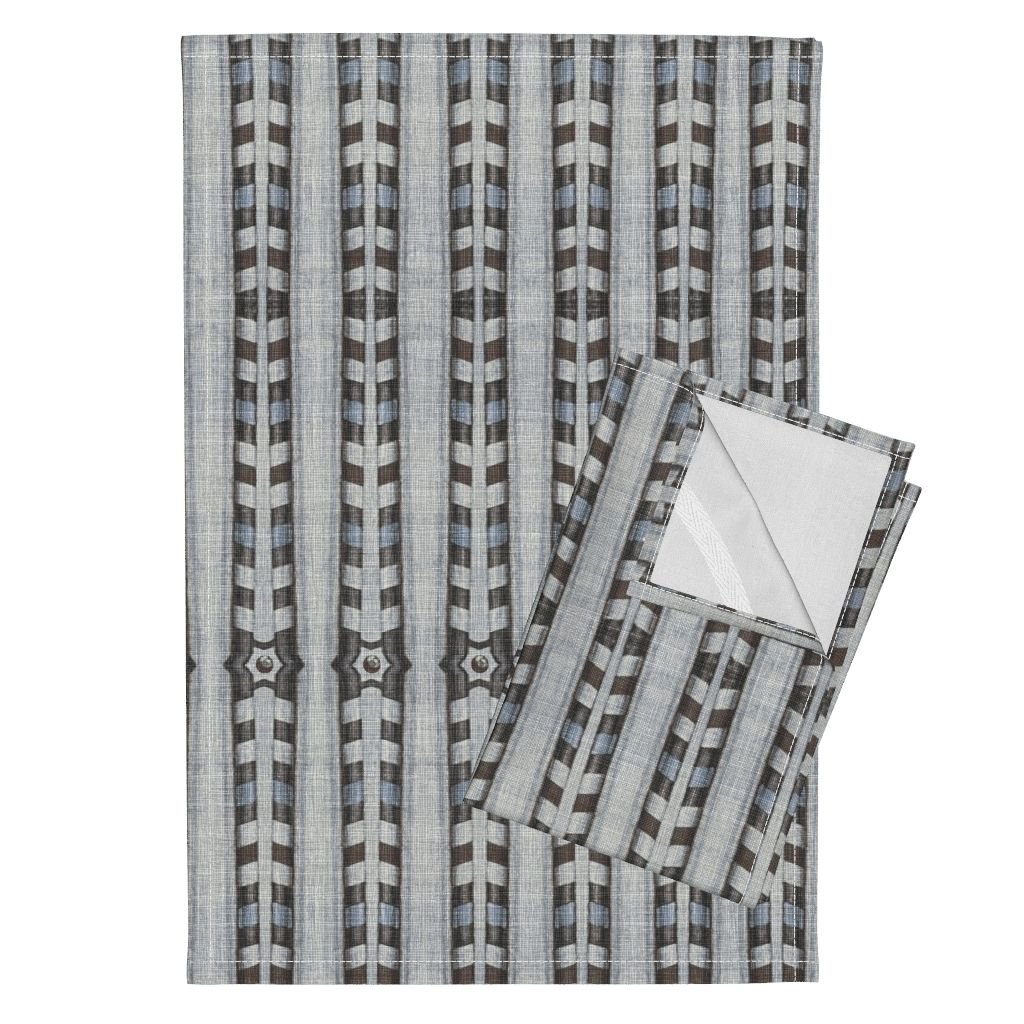 Roostery Neutral Regular Native Folk Arrows Linen Country Tea Towels Native_03 by Chicca Besso Set of 2 Linen Cotton Tea Towels
