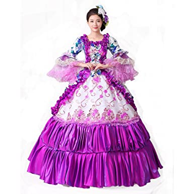 72dad63dbe51 Purple Floral Printed Rococo Marie Antoinette Dresses Southern Belle  Masquerade Victorian Ball Costumes Theatre Clothing (