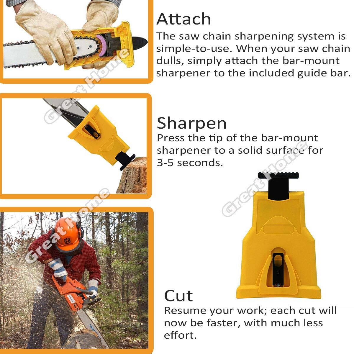 Shipping By FBA Chainsaw Teeth Sharpener Portable Proprietary Bar-Mount Chainsaw Chain Sharpening Kit Fast-Sharpening Stone Grinder Tools/ Fit With 2 Holes Bar Chainsaw