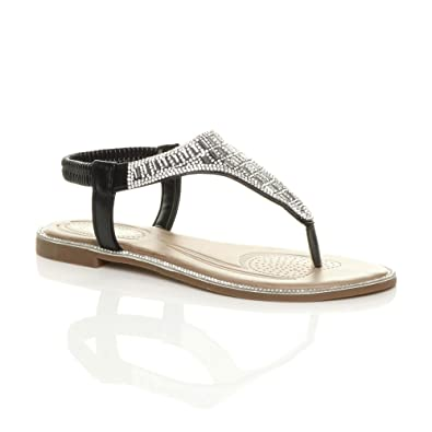 2e1008608 Ajvani Womens Ladies Flat Diamante t-bar Toe Post Sparkly Slingback Sandals  Size 3 36