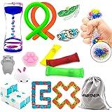 H-Partner Relieves Stress and Increase Focus Bundle Sensory Twisted Squeeze Fidget Toys Set- Fidget Chain/Cube, Infinity Magic Cube/Ball, Liquid Motion Timer Ferrofluid Bottle (15 Pack)