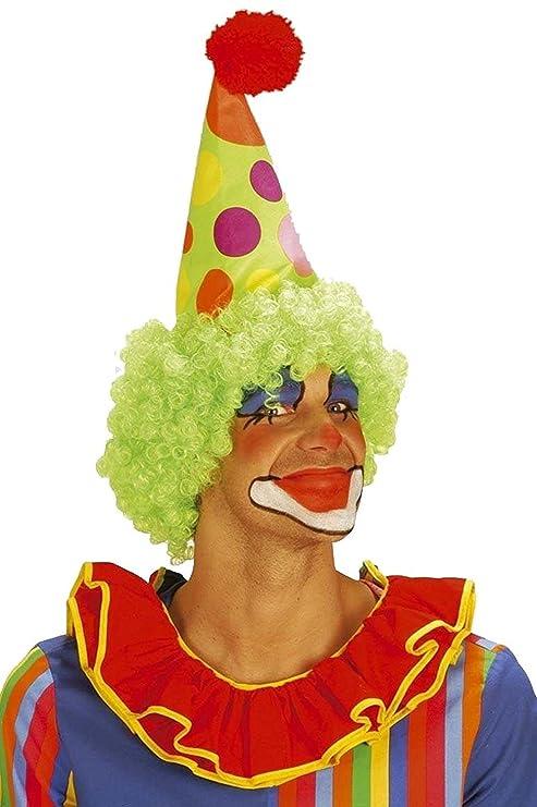 WIDMANN Cappello Clown con Parrucca RICCIA Accessori Travestimento Carnevale 696cbc99a945