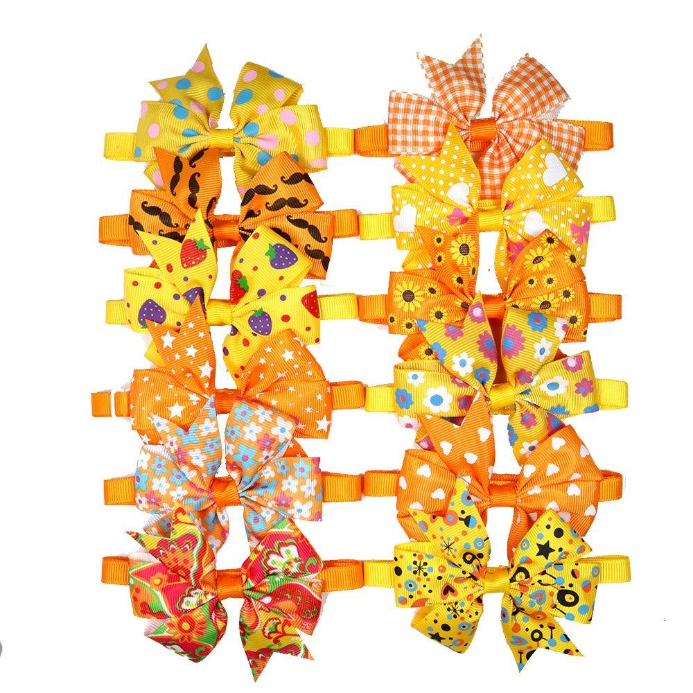12PCS/Pack Cute Pet Puppy Dog Cat Bow Ties Orange Pinwheel for Fall/Autumn Pet Grooming Adjustable Bow Ties