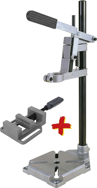Wolfcraft 3406301 Soporte de taladro con columna redonda + mordaza de regalo, 160 x 230 x 500 mm PACK 1