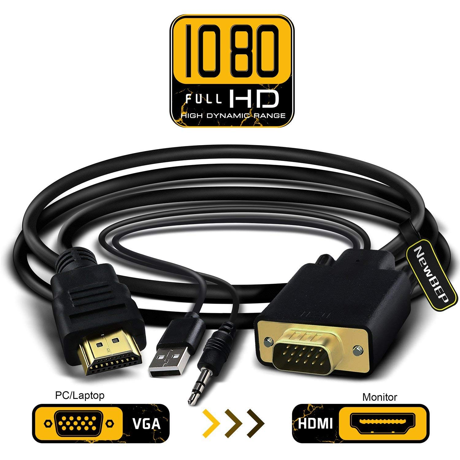 VGA to HDMI Adapter Cable, NewBEP 6Ft/1.8m VGA to HDMI 1080P HD Audio TV AV HDTV Video Converter Cord with 3.5mm Audio Cable & USB Power Cable for PC Computer Desktop Laptop Projector by NewBEP (Image #1)