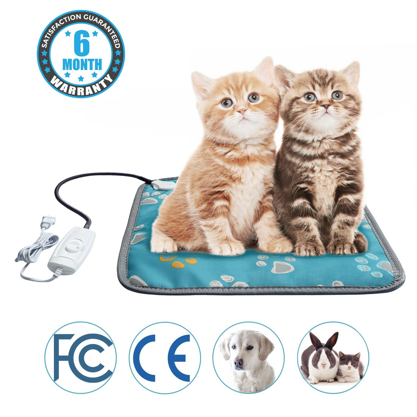 Mazort Pet Heating Pad Cats and Dogs Safety Electric Heated Pet Bed Warming Mat with 2 Adjustable Temperature Chew Resistant Cord 17.7'' x 17.7''