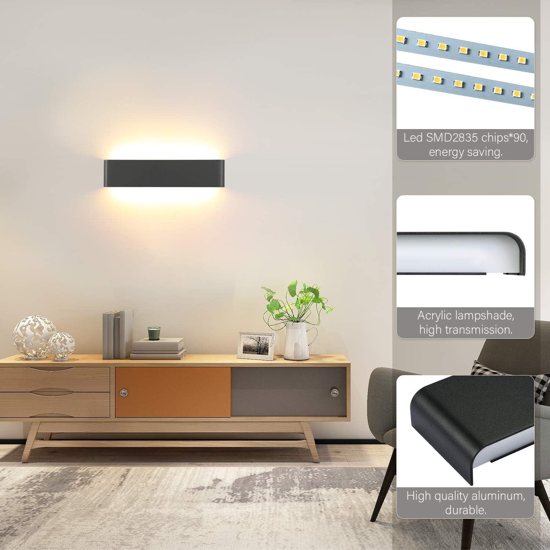Warmweiss Lightess 18W Wandleuchte Innen LED Schwarz Modern Treppenhaus Beleuchtung Wandlampe mit Up Down Licht IP44 aus reinem Aluminium f/ür Wohnzimmer Schlafzimmer Flur/Treppen usw 40cm