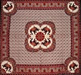 Good Luck Elephant Tapestry Cotton Bedspread 108'' x 102'' Queen-King Burgundy
